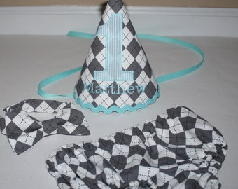 1st birthday boy, gray argyle with aqua blue accents, boys cake smash outfit, bow tie, diaper cover, first birthday outfit for boy