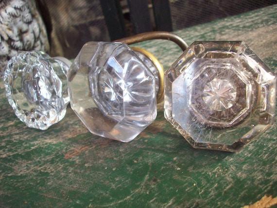Lot 3 antique depression era crystal glass door knobs octagon for Glass bureau knobs