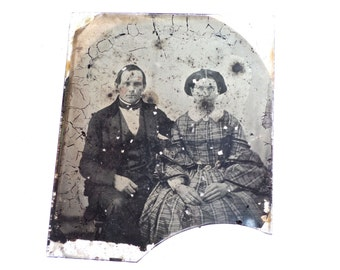 Vintage Couple Tintype Photo, Daguerrotype Couple Photo, Large Tintype, Large Daguerrotype, 1800s photography, ambrotype, mixed media supply