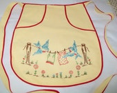 Hand Embroidered Vintage Apron, yellow, red, birds on clothesline