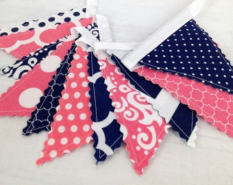 Bunting Banner Mini, Fabric Banner, Fabric Flags, Girl Nursery Decor, Birthday Decoration - Coral Pink, Navy Blue Chevron, Dots and Damask