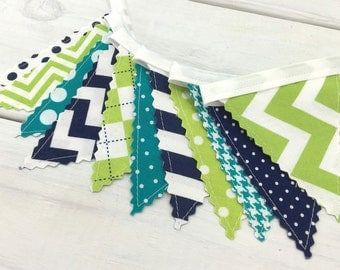 Bunting Banner Mini, Fabric Banner Flags, Nursery Decor, Birthday Decoration - Lime Green, Navy Blue, Turquoise, Teal Blue, Chevron, Dots