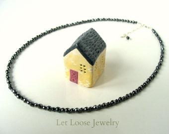 Hematite strand necklace, genuine gemstones sterling silver, handmade, dark metallic gray glittery stones, Let Loose Jewelry, under 50
