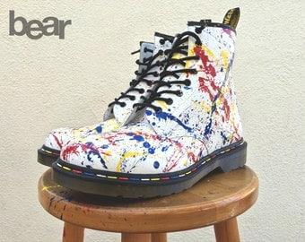 Doc Martens - Custom Hand Painted Paint Splatter and Rainbow Stitching