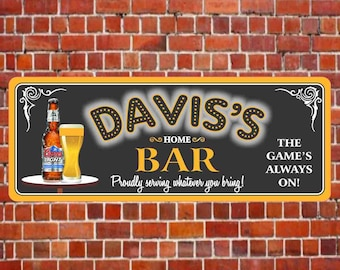 Personalized Bar Sign with Cold Beer, Custom Sports Team Colors and Your Name in Marquee Lights Font C1221