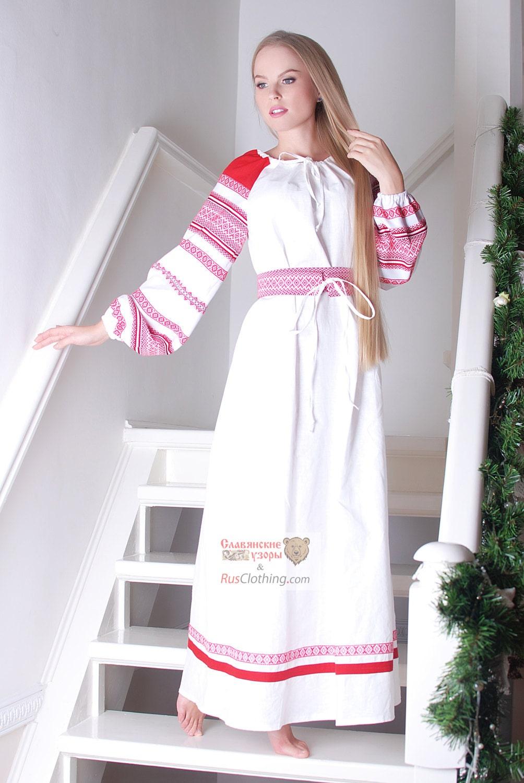 White Linen Dress Russian Costume National Clothing Slavic