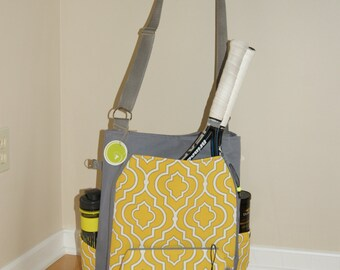 Large Tennis Bag  Made from water proof vinyl canvas incl. small accessory Bag- Made to Order.