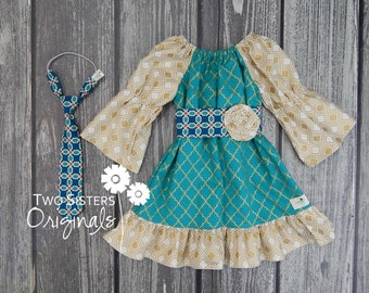 Christmas Brother and Sister Matching Outfits - Boutique Peasant Dress & Little Boy Necktie - Chandelier