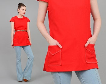 Catalina 60s Coral MOD Top Knit Tunic Cap Sleeve 1960s Space Age Patch Pockets Minimal Blouse Orange Red Medium M