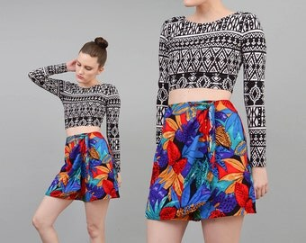 Vintage 80s Skort TROPICAL Floral Shorts Jungle Print High Waist Mini Skirt Vibrant Colorful Skirt Medium M