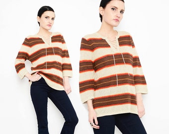 70s 80s Wide Striped Top Linen Knit Sweater 1970s Lace Up Blouse Boho Hippie Slouchy Shirt Tan Brown M L