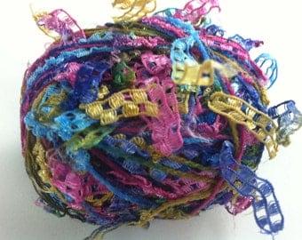 Trendsetter Cubetti #1056 Carnival - Ribbon Yarn Flags Carryalong in Blues, Green, Gold, Purple, Pink 25 grams 75 yards