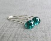 Minimalist Teal Earrings, Teal Dangle Earrings, Modern Lampwork Earrings, Minimalist Dangles, Sterling Silver Wire Earrings, Teal Jewelry