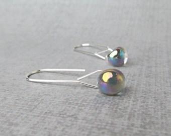 Minimalist Gunmetal Gray Earrings, Gray Dangle Earrings, Silver Minimalist Earrings, Sterling Silver Wire Earrings Grey, Lampwork Earrings