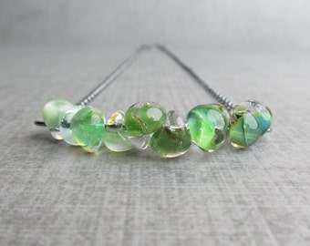 Green Ombre Necklace, Green Lampwork Necklace, Green Necklace, Green Bar Necklace, Handmade Oxidized Sterling Necklace, Green Glass Necklace
