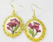 Coral Bells Earrings, Real Flowers,  Pressed Flower Jewelry, Resin (1694)