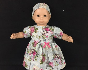 Doll Clothes for Bitty Baby Girl Dolls or Bitty Twin Girl Dolls Paris In Spring Eiffel Tower Rose Garden Dress