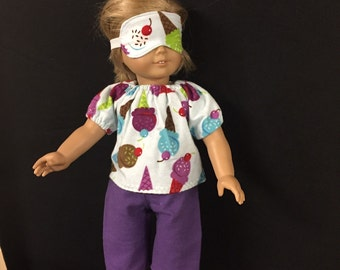 Doll Clothes for American Girl and Some Other 18 Inch Dolls,  Sweet Dreams Dreaming of Ice Cream and Cones Pajamas PJs