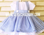 Custom Wizard of Oz Dorothy Traditional Costume Dress Click your Heels & Follow the Yellow Brick Road 2 pc Set