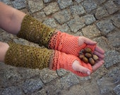 From Coral to Olive- ombre hand dyed crocheted open work long multicolored wrist warmers mittens fingerless gloves hippie boho