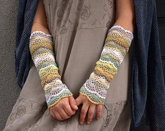 Gypsy Bride - crocheted open work lacy romantic multicolored wrist warmers mittens cuffs hippie boho style