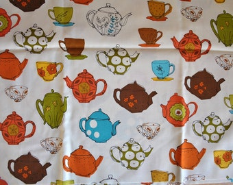 vintage teapots - metro cafe - louise cunningham - robert kaufman fabric - 100% cotton - one yard