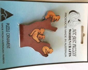 Vintage Australian Timbers Wood Sculpture Koala Tree Puzzle Collectable