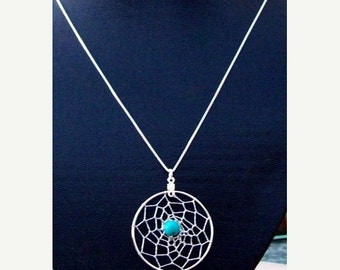 SALE DREAM IN Turquoise Dream catcher pendant with 18 inch sterling silver chain