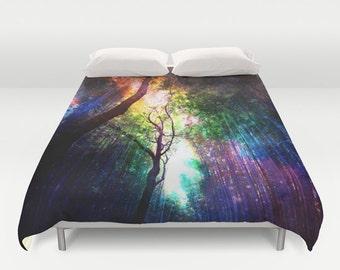 rainbow duvet cover.rainbow duvet.colorful duvet.bedding.dorm bedding.magical bedding.trees duvet.nature duvet.yellow duvet.green duvet.