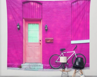 Pink house wall tapestry/Fuchsia wall tapestry/Light pink wall tapestry/Unique tapestry/Modern wall decal/bike wall tapestry/dorm wall decal