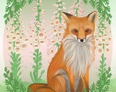 A7 SINGLE- Fox and Gloves Note card