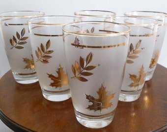 6 Vintage  Gold Leaf Lowball Glasses Atomic Gold Frosted Foliage Leaves Motif  Hollywood Regency Mad Men Style by Libbey