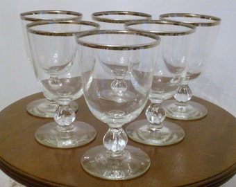 6 Vintage Libbey Silver Rimmed Cocktail or Water Glasses on Pedestal Mad Men Chic Tableware Barware