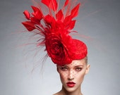 Red couture Fascinator, Cocktail hat, Melbourne cup fascinator, Kentucky derby hat
