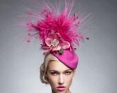 Pink /Magenta wool headpiece, Pink Fascinator , Mayenta hat, Wool fascinator