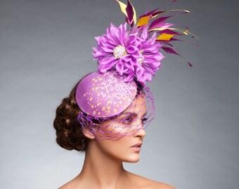 Plum/Lavenver/Mauve fascinator, Kentucky derby hat, Royal ascot hat, Melbourne cup hat ,Plum Cocktail hat