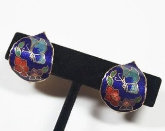 Dark Blue Cloisonné Earrings with Butterfly and Flowers, Vintage Clip-on Earrings for Women