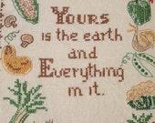 Vintage Framed Cross Stitch Yours Is The Earth Poem Vegetables
