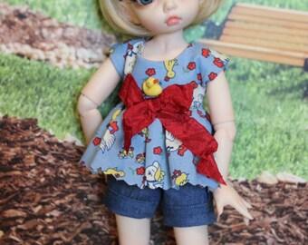 Ducks for Summer - shorts set for Fairyland LittleFee BJD Dolls.  Cute Summer Fun!