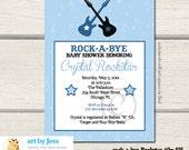 Rock Star Rock a Bye / Rockabye Boy Baby Shower Invitation, Guitars, Music Printed or Printable bs-035