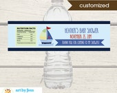 Sailboat Water Bottle Labels / Boy Baby Shower Favor / Little Skipper / Printable Print your Own  Customized PDF File