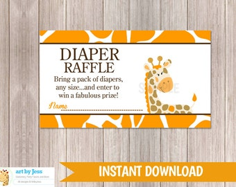 Orange Giraffe Baby Shower Diaper Raffle Tickets | Gender Neutral | Printable PDF file INSTANT DOWNLOAD bs-032