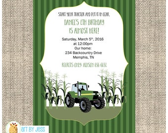 Green Tractor Custom Birthday Party Invitation / Printed or Printable