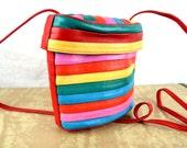 Vintage 80s Rainbow Mini Leather Purse Bag