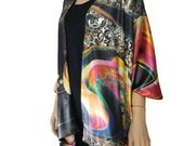 Kimono cardigan - Multi color satin kimono-Earth Song-Gift idea-Layering piece-