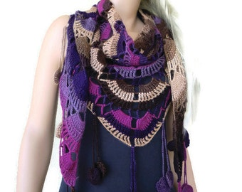 Bohemian crochet scarf- Road trip-dark brown,camel,plum,purple and mauve-Multicolor Crochet lace scarf with fringes-Silk and mohair-Handmade
