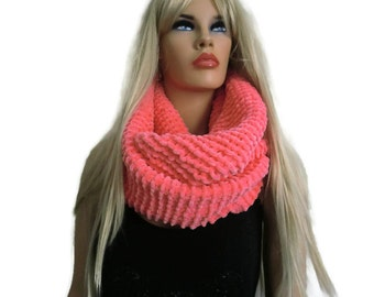 Coral velvet winter scarf , Hand knitted ulta soft fluffy winter cowl-More colors are coming