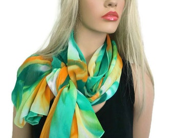 Green orange chiffon scarf  shawl Tropical Summer, Slimming Chiffon Beach wrap, Yellow, Green,Orange, Sarong/Pareo,oversized scarf