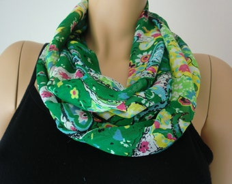 Green  Paisley Chiffon infinity scarf/ cowl-green and yellow infinity scarf,green spring/summer scarf Instant gratification