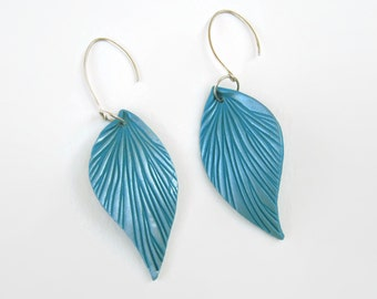 Turquoise and Pearl Leaf Earrings - Sterling Silver, Handcrafted Ear Wires, 3 Inches Long, Lightweight Feather Earrings, Blue and Silver